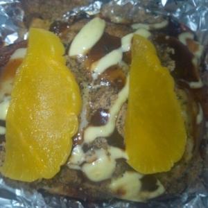 ワッフル(トマトジュース&サラミ)目玉焼き+きな粉