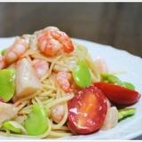 海老と帆立、空豆の冷製スパゲッティーニ