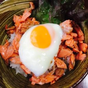 これは美味#燻鮭と温泉卵の他人丼