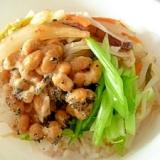 納豆キムチと塩糀キノコのビビンバ風どんぶり