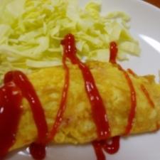 朝食に♪ベーコンと粉チーズの簡単オムレツ