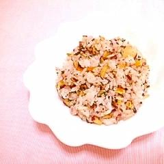 柑橘風味♪お茶の葉とさつまいものスパイス炒飯