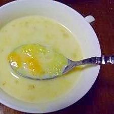 とろ~りチェダーチーズ入りのさつま芋のスープ