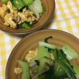 青梗菜と炒り卵の和風炒め