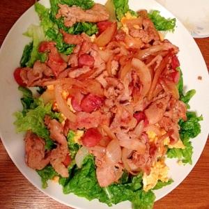 豚の生姜焼きのサンチュ乗せサラダ