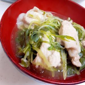 昆布茶で簡単&ヘルシー(^^)豚肉と水菜の常夜鍋♪