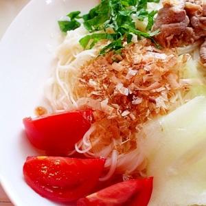 【簡単】ラム肉と加賀太キュウリのぶっかけ素麺