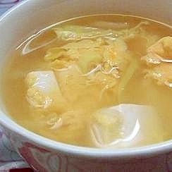 豆腐入りかき玉スープ