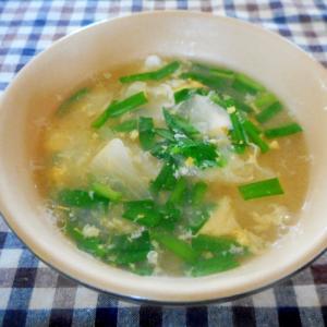 ピーラー大根とニラのお味噌風味卵スープ