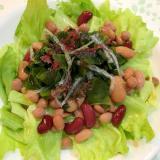 ミックスビーンズと海藻のサラダ