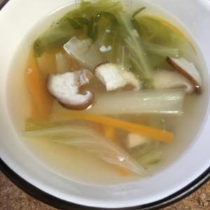 鶏ハムのゆで汁で☆気軽に菌活!あっさり塩麹スープ