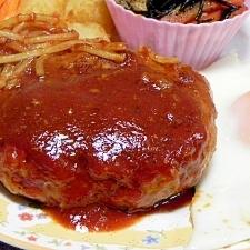 肉汁じゅわっと大満足なハンバーグ:焼肉用牛肉入り