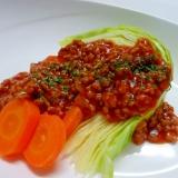 食べるとロールキャベツ☆温野菜のミートソースがけ