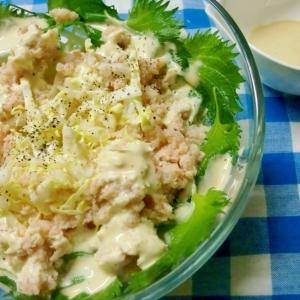 白菜とずわいガニのサラダ…マヨポンをかけて