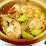 土鍋で作る海老と舞茸のアヒージョ風