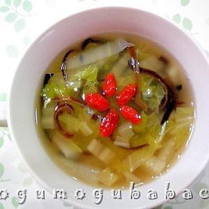 白菜ときくらげのしょうがスープ