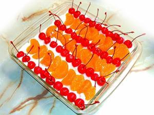 イワキのケーキ型で!みかんとチェリーたっぷりケーキ