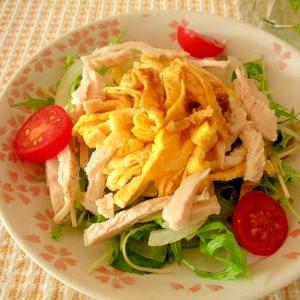ゆで鶏と薄焼き卵のおかずサラダ