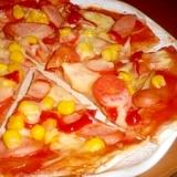 小麦粉だけでつくる^^ピリ辛チリソースのコーンピザ