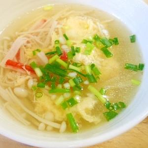 えのきとカニカマの卵スープ