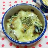 さばのオリーブオイル漬け缶と玉葱のチーズ焼