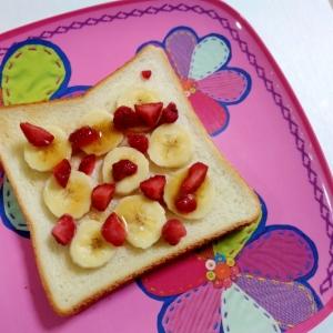 おやつトースト☆バナナといちごのメープルトースト
