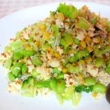 枝豆、コーン、ブロッコリーのマヨ炒り豆腐