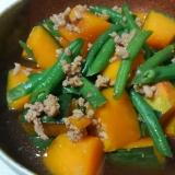 かぼちゃとひき肉といんげんの煮物*