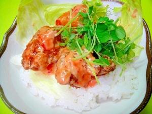 エビチリ風☆鶏の唐揚げ丼