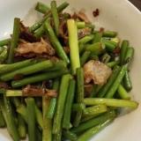 にんにくの芽と豚肉の炒め物