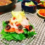 糖質制限☆スモークサーモンのカルパッチョ風サラダ