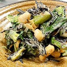 小松菜、ひじき、大豆のマヨあえ