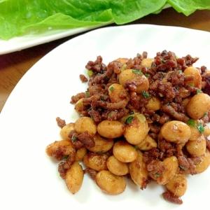大豆とミンチの味噌炒め