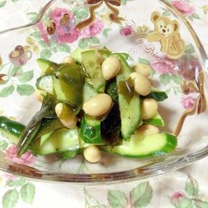 わかめと大豆とキュウリのにんにく風味ゆかりポン♪