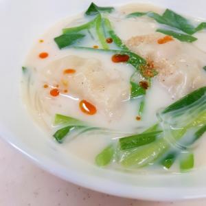 冷凍餃子で(^^)ニラと春雨のミルクスープ♪
