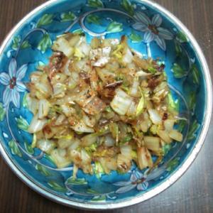 白菜の納豆タレ炒め