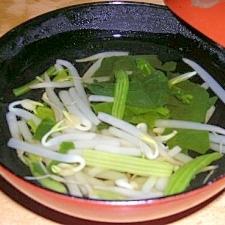 もやしとほうれん草の和風スープ