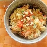 塩鮭と梅干しと大葉の混ぜご飯