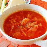 トマトジュースで作る♪ハーブが香るトマトスープ