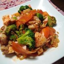 蒸し鶏とブロッコリのキムチサラダ