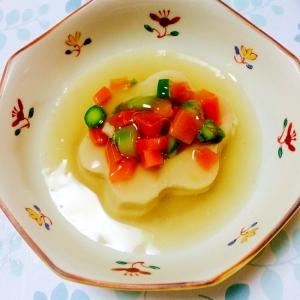 花形高野豆腐の野菜のせあんかけ
