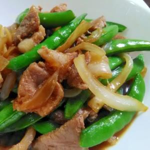 旬の一品☆豚肉とスナップエンドウの甘辛炒め