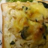 生バジルで♥エリンギとキャベツのチーズトースト