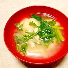 春菊と油揚げの味噌汁