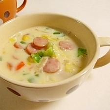 ウインナーとキャベツのクリームスープ
