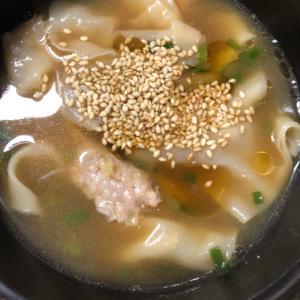 ごま油香るワンタンスープ(^^)