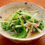 簡単副菜!1分煮るだけ 水菜とベーコンのさっと煮