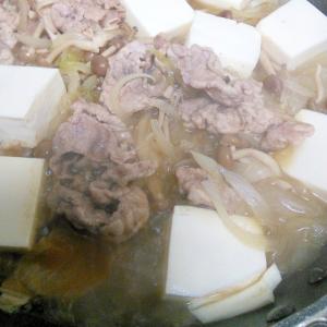 豚肉で肉豆腐