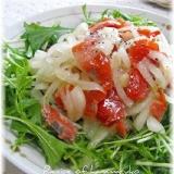 スモークサーモンとオニオン水菜サラダ