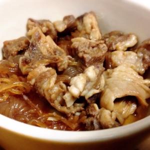 牛スジ肉と結びしらたきの醤油煮☆